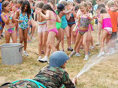 campers water fight